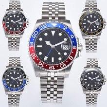 40 мм PARNIS синий/красный ободок механические часы с установленными застежками черный циферблат сапфировое стекло ДАТА GMT автоматические мужские часы