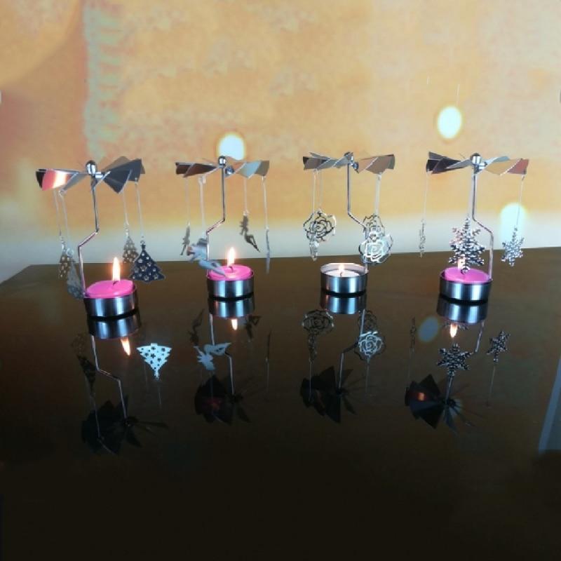 Rotary Spinning Tealight Candle Metal Tea light Holder Carousel Home Decor
