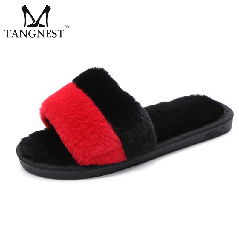 Tangnest NEW Fur Indoor Slippers For Women Winter Soft Plush Floor Slippers Comfortable Mixed Color Flat Shoes Size 36~41 XWT853 vanled 2017 new fashion spring summer autumn 5 colors home plush slippers women indoor floor flat shoes free shipping