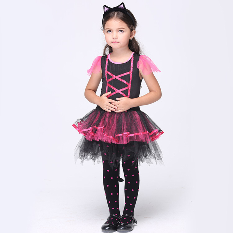 Wholesale Halloween Performance Costumes Dresses Cat Girls Suit Kids Dance Clothes Cat women Cosplay Child Gifts Plus Size S-XL