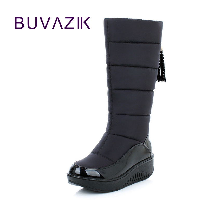 2017 waterproof thick bottomed shaking snow boots shoes women winter non-slip warm stitching down high botas outdoor footwear