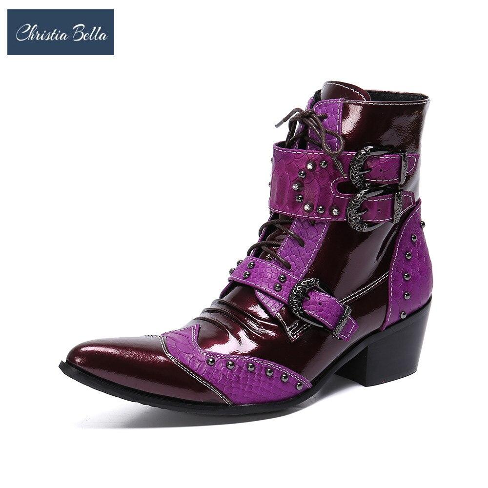 Christia Bella hiver mode hommes bottes Rivets Patchwork en cuir véritable mi-bottes mâle à lacets moto bottes grande taille chaussures