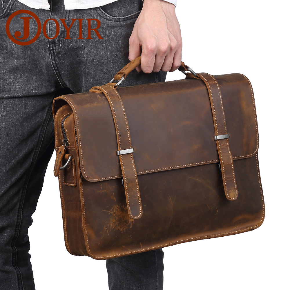 JOYIR Men's Briefcase Genuine Leather Messenger Bag Laptop Bag Crzay Horse Leather Computer Office Shoulder Bag Men's Handbag