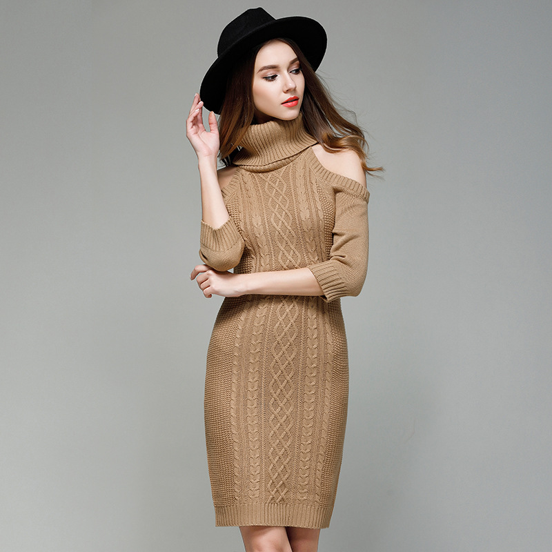 Long sleeve tunic winter vestido bodycon cold shoulder half sleeves knitted sweater dresses crochet turtleneck dress for female turtleneck cold shoulder jumper dress