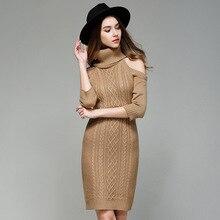 Туника с длинными рукавами зимние Vestido Bodycon открытыми плечами Половина рукава вязаный свитер платья крючком водолазка платье для женщин