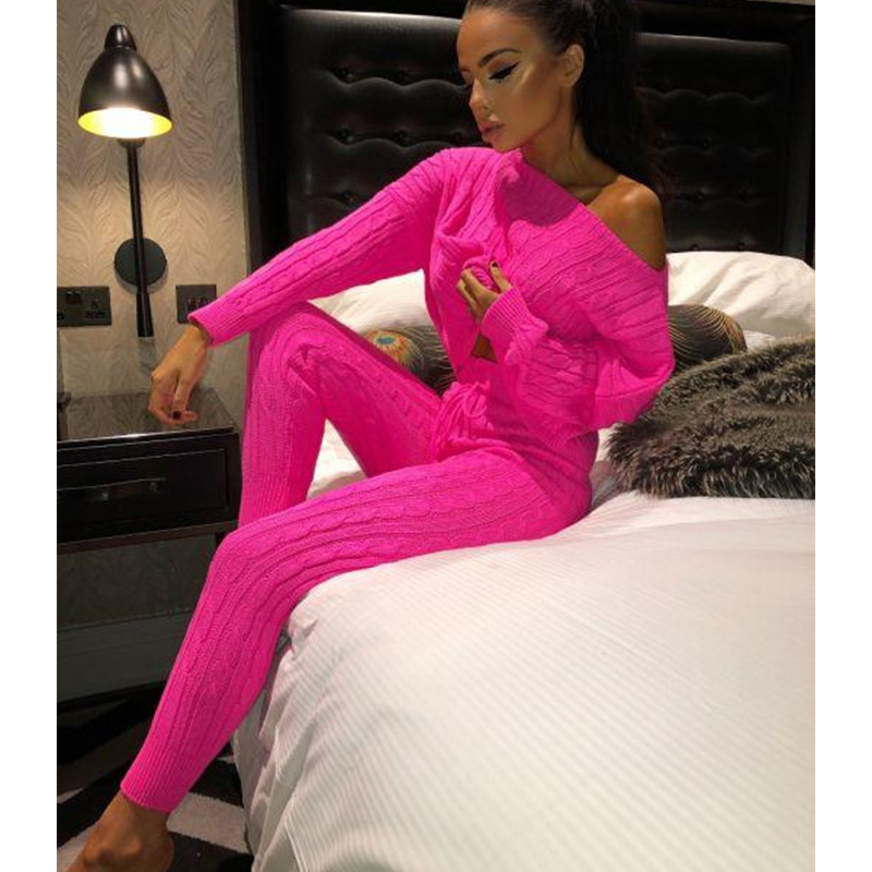 2019 Autumn Winter New European American Two Piece Sets Women's Suit Round O neck Wool Woven Long Sleeve Sweater Pants Suits
