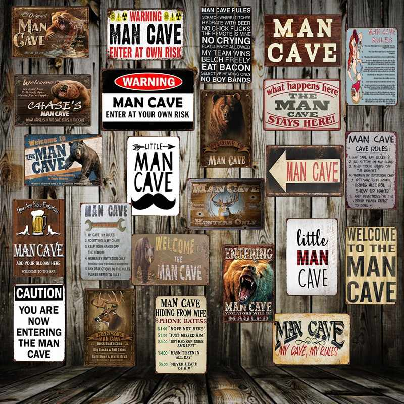 [ Mike86 ] Man Cave Rule ENTER AT YOUR OWN RISK Metal Tin Sign Home Bar Hotel Wall Painting Plaque Party Bar Public Decor FG-258