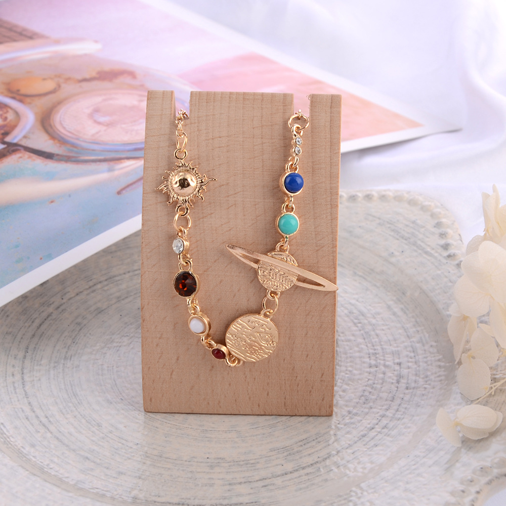 GUVIVI Planet Anklets for Women Gold Color Stone Beads Planet Foot Bracelets Summer Beach Barefoot Jewelry on leg Ankle Chain in Anklets from Jewelry Accessories