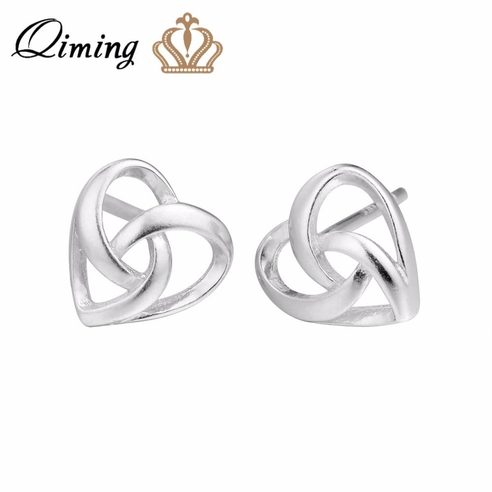 QIMING European Silver Women Earrings Girls Fashion Design Wholesale Jewelry Vintage Earring Nice Brand Girls Earrings
