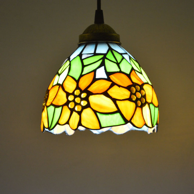 Tiffany Pendant Light Stained Glass Sunflower Country Style Dining Room Decor Hanging Lamp E27 110