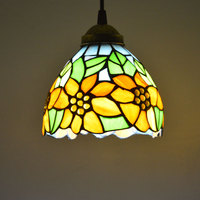 Tiffany Pendant Light Stained Glass Sunflower Country Style Dining Room Decor Hanging Lamp E27 110 240V