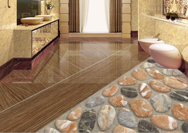 Flooring Living Room Wallpaper Custom Photo Natural Stone Pebbles Floor Painting Self