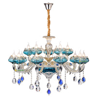 Modern Glass Chandelier Living LED Lamps Chandelier Lighting Bedroom Atmosphere French Blue Zinc Alloy Crystal Chandeliers