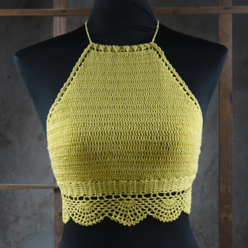Handmade Crochet crop tops, crochet knitted bikini swimwear, bathing ...