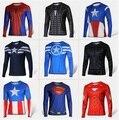 Super héroes capitán américa Spiderman Superman Batman Iron Man manga larga de la manga de la camiseta del traje camisa