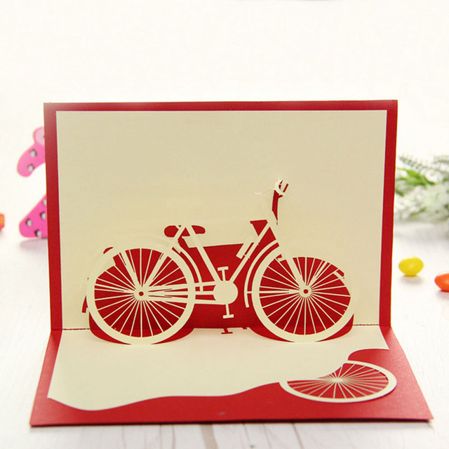 3d pop up origami paper laser cut greeting cards creative handmade bicycle birthday christmas anniversary souvenirs - Laser Cut Christmas Cards