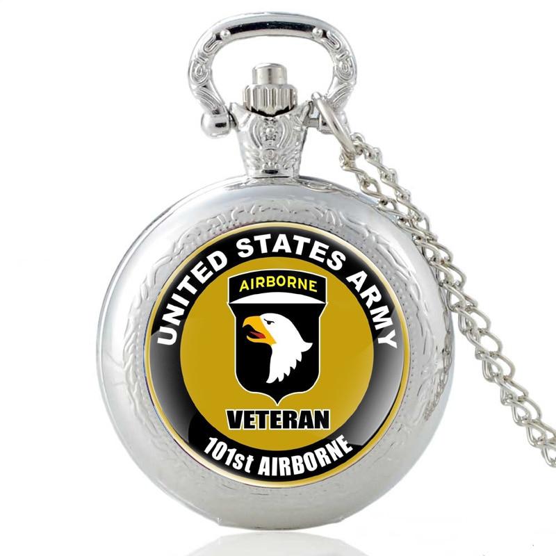 310820c55e6 Os Recém-chegados Preto Clássico Estados Unidos Da Força Aérea dos EUA  101st Airborne Division Quartzo Relógio de Bolso Do Vintage Colar Relógios  ...