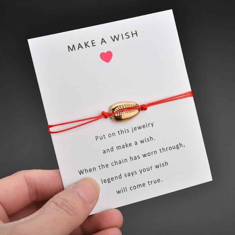Jisensp Beach Nature Shell Charm bransoletka papierowa karta życzeń prezent Handmade czerwony sznurek bransoletki z rzemykami dla kobiet mężczyzn biżuteria dla dzieci
