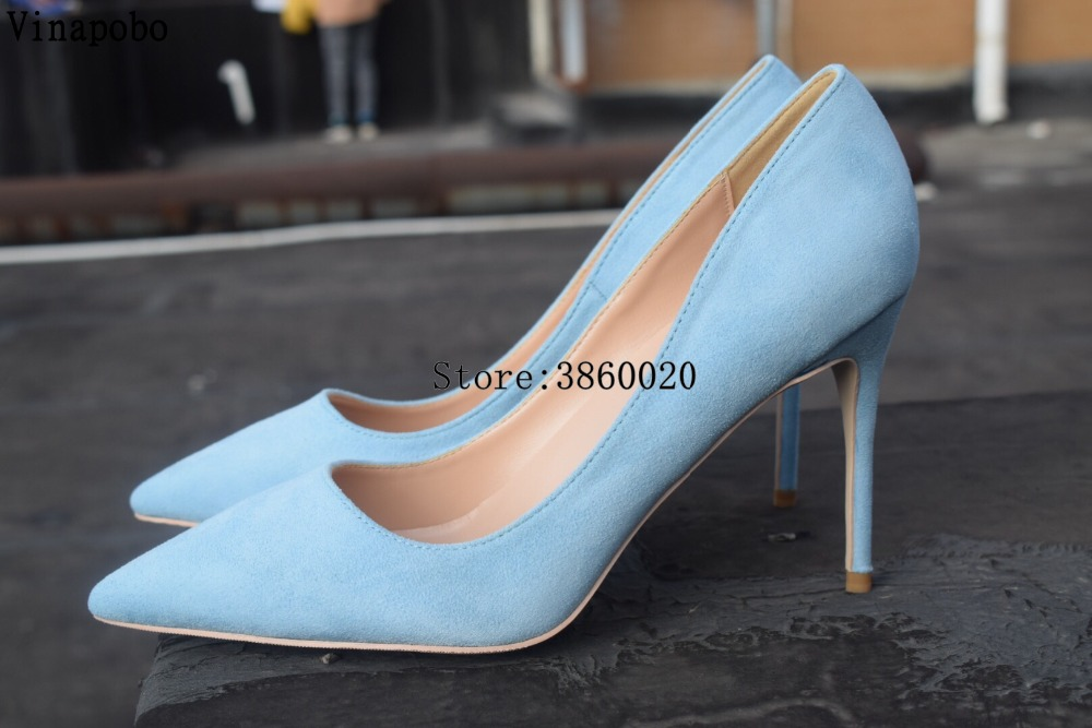 Women Pumps Stiletto High Heels Wedding Shoes Blue Suede Women Shoes Fashion Women Heels Pointed Toe