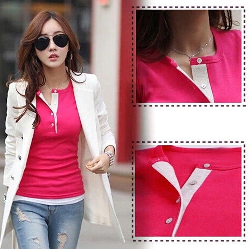 HTB1RVkCxlmWBuNkSndVq6AsApXaD - New Spring Autumn Women T-shirts Clothing Slim Long sleeve shirt Cotton
