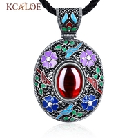 KCALOE Vintage Ethnic Bohemian Necklace Red Green Blue Oval Natural Stone Flowers Antique Silver Plated Pendants Necklaces