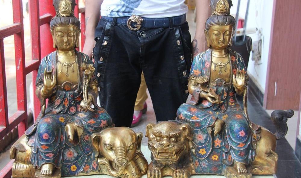 19 Buddhism Bronze Cloisonne Foo Dog Lion Manjusri Kwan-yin Samantabhadra Statue
