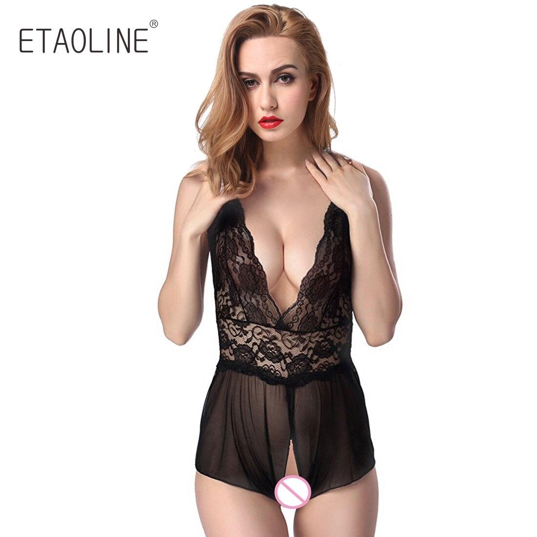 2368904467e ETAOLINE Sexy Lace Night Open Croth Dress Womens Lingerie Mesh Lace Teddy  Babydoll Dress Sleepwear Nightwear Underwear R35