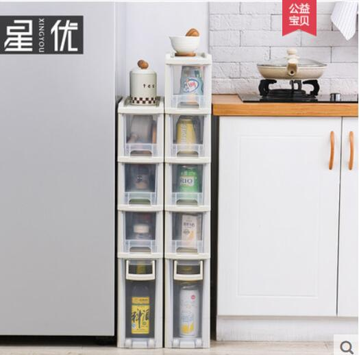 Good Quality Nice Transparent Crack Rack Bathroom Storage Storage Rack Shelf Multi-layer Refrigerator Side Shelf