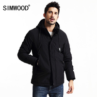 Simwood 2018 الجديدة الشتاء معاطف الرجال عارضة أسود ستر أزياء ماركة الملابس يتأهل سستة واقية MF9603