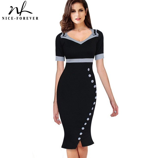 Nice forever Bowknot Female Work Vintage Dress Women Cotton Tunic Black Short Sleeve Formal Mermaid Buttons Wiggle dress b220