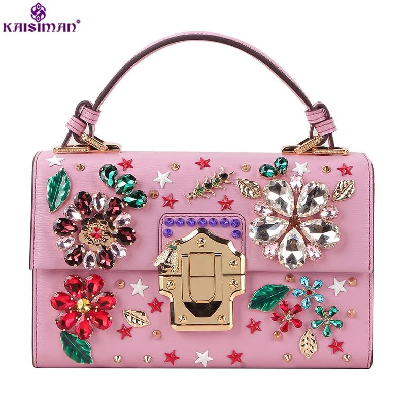 Luxury Famous Designer Flower Diamond Design Shoulder Bag Female Vintage Ethnic Style Rivet Handbag Genuine Cow Leather Tote Bag