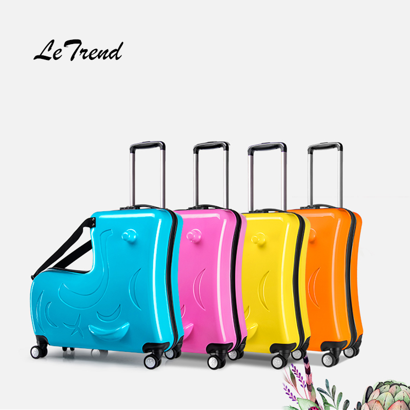 Letrend Children Rolling Luggage Spinner 24 inch High capacity Student Wheels Suitcase Cute Cartoon Baby Trolley Travel Bag