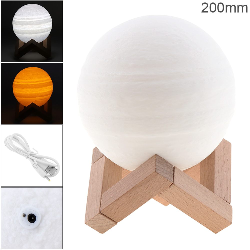 20CM Rechargeable 3D Print Jupiter Lamp LED Night Light with 2 Color Change Touch Switch for Baby Kids Children Bedroom Gift