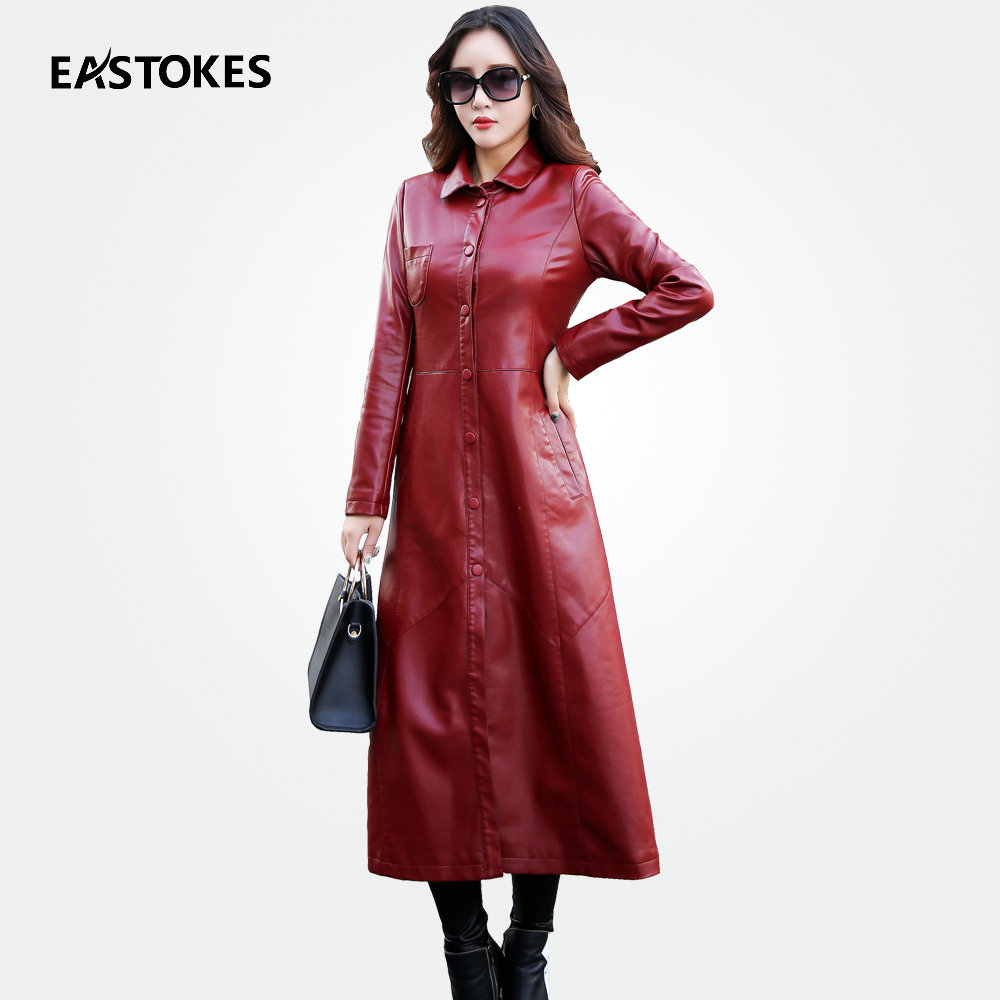Fashion Women X-long Leather Jacket with Pocket Detail Ladies Leather Windbreaker Slim F ...