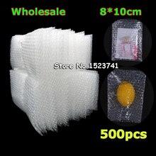 ขายส่ง 80*100 มม. พลาสติกห่อซองจดหมายสีขาวฟองบรรจุถุง PE clear bubble กระเป๋ากันกระแทกกระเป๋าคู่ฟิล์มกระเป๋าฟอง