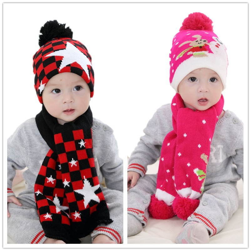 Baby girls Scarf and Hat Set Toddler knit Hat Little boys