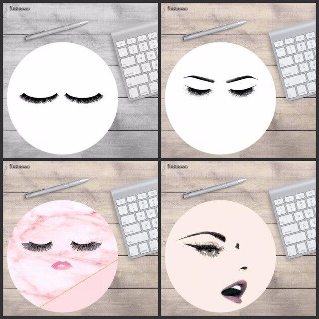 Yuzuoan Pink Series Love Eyelashes Cute Pastel Painting Mat Round