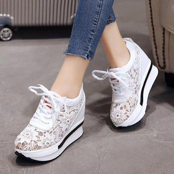 Dropshipping, zapatos de mujer transpirables de malla, zapatos de tacón alto con plataforma, zapatos de cuña para mujer, venta al por mayor, Whatsapp + 8613586826522 SXJJ083