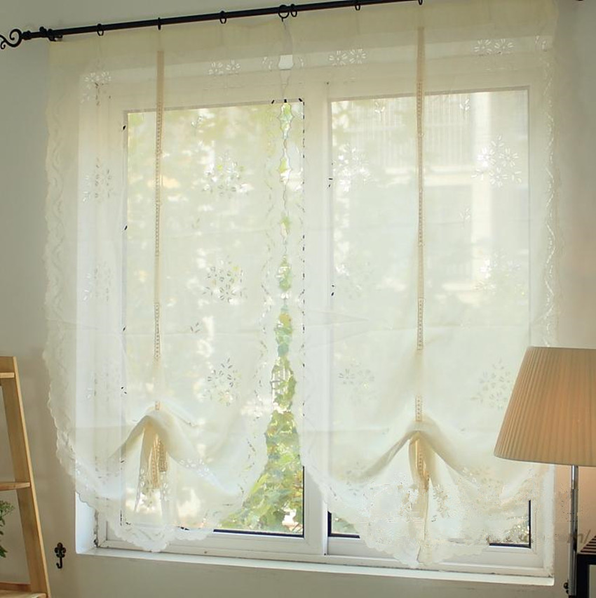 1 Panel White Cherry blossoms Hollow Embroidered imitated Cross Linen Balloon Curtain 100% Handmade Carved Finished Curtain