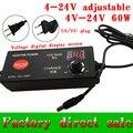 Ajustable 4 V-24 V adaptador con pantalla de voltaje 17 V/16/22 v/21 v/14 v/60 W fuente de alimentación adatper 13.6V8V5A dc5.5 * 2.5/2.1mm