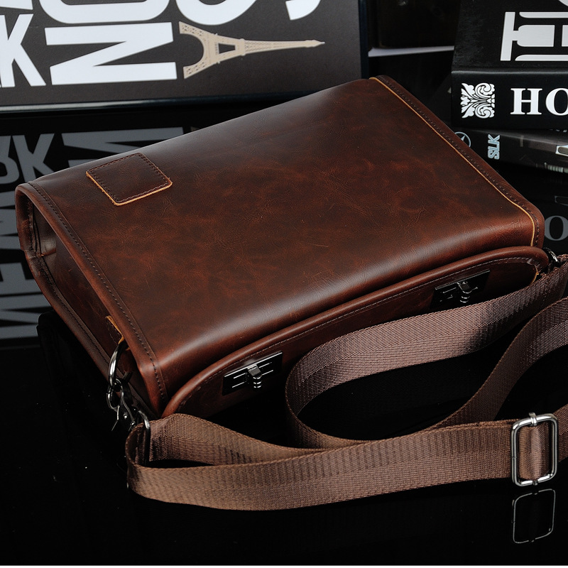 4b5d32e598 2018 New Leather Men Bag Crazy Horse Leather Men s Handbags Casual Business  Laptop Shoulder Bags Briefcase Messenger bag-in Crossbody Bags from Luggage  ...