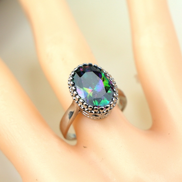 925 Sterling Silver Jewelry Mystic Rainbow Fire Cubic Zirconia Jewelry