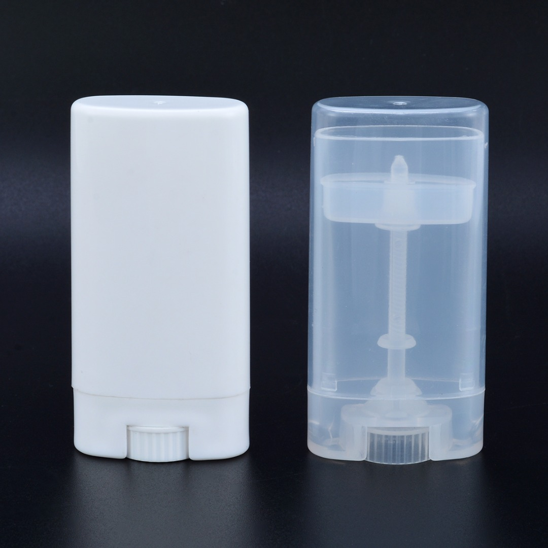 1pc Deodorant Tubes PP 15G Transparent / White Empty Oval Tubes Deodorant Lip Balm Containers