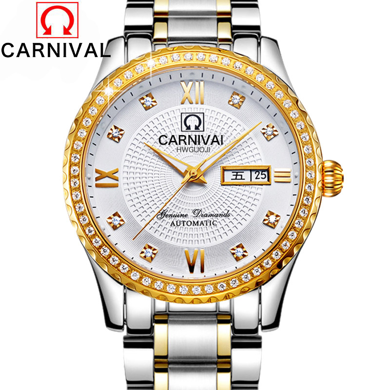 New Men's Fashion Carnival Calendar Watch Rhinestone Automatic Mechanical Watches Full Steel Leather Waterproof Wristwatch Clock 2017 new full steel automatic watch binger casual fashion wristwatch with gold calendar man business hours clock relogio reloj