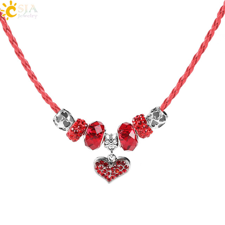 4 Red leather braded necklace 46cm