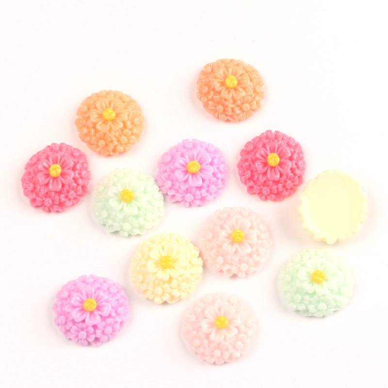 LF 50Pcs Mixed Flower Resin Decoration Flatback Cabochon Embellishment For Crafts Scrapbooking Diy Versiering Accessories