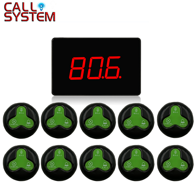 1 Receiver Host + 10 Call Button Restaurant Waiter Calling System Voice Reporting Broadcast Call Pager For Fast Food Shop wireless waiter pager system factory price of calling pager equipment 433 92mhz restaurant buzzer 2 display 36 call button