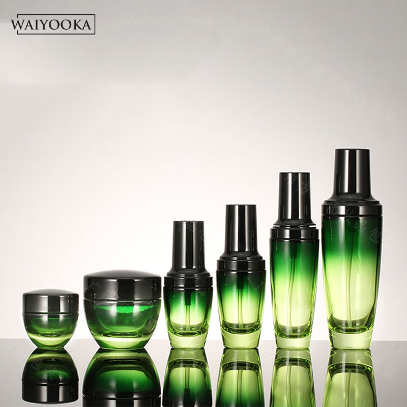Image 2 - Fashion Green Gradient Glass Bottle Refillable Makeup Bottle Jar Dressing Table Organizer Skin Care Storage Tools For BB Cream-in Storage Bottles & Jars from Home & Garden