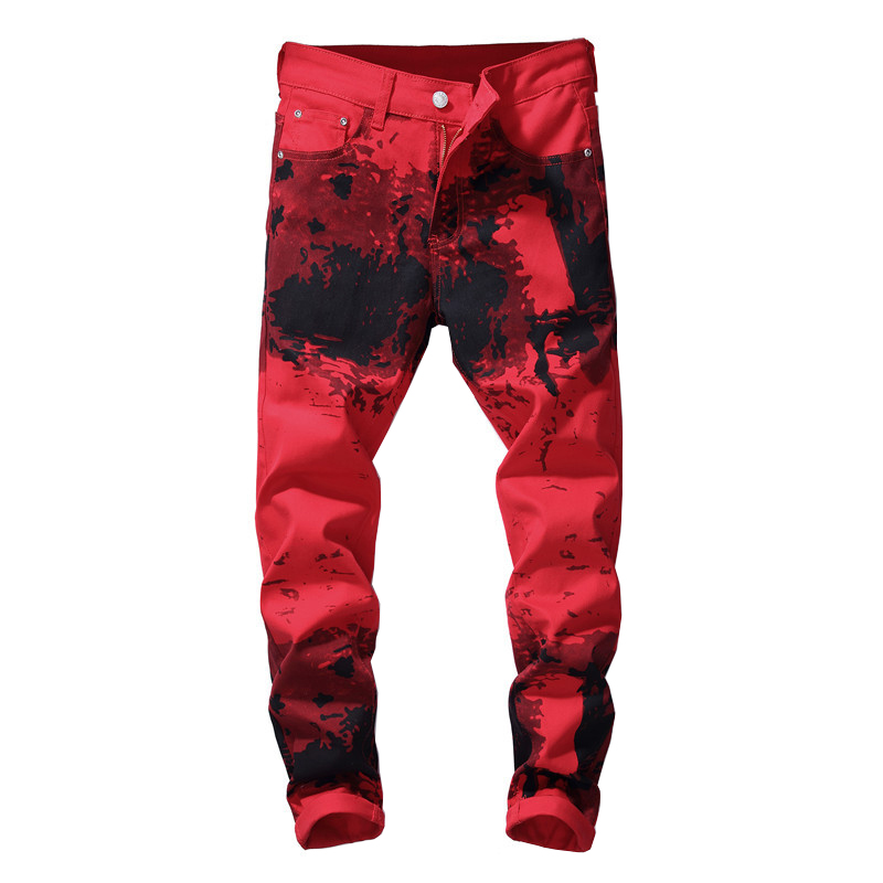 Sokotoo Men's red printed   jeans   Fashion painted slim stretch pencil pants