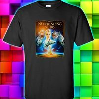 OKOUFEN Button Down Shirts Crew Neck The Neverending Story 3 Dragon White Black S M L
